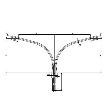 Кронштейн двухрожковый разнонаправленный (180 град) для консольного светильника